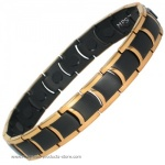 MPS�  MIAMI GOLD & BLACK Ladies Titanium Magnetic Bracelet