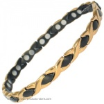 MPS�  ALIOTH GOLD & BLACK Ladies Titanium Magnetic Bracelet