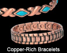 Copper rich magnetic bracelets