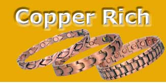 Copper rich zinc magnetic bracelets