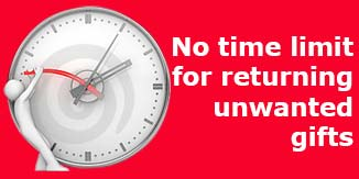 No time limit for returning unwanted gifts