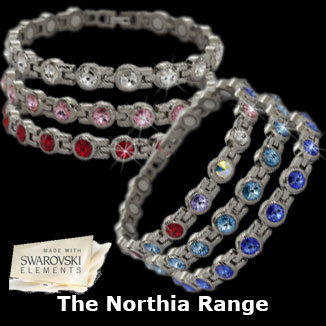 Northia titanium magnetic bracelets with swarovski elements collection