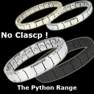 Python stainless steel expanding magnetic bracelets collection