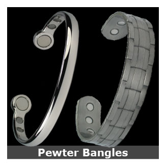 Pewter and silver tone bangles