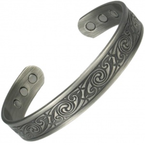MPS ABHAY Pewter Gothic Magnetic Therapy Bangle