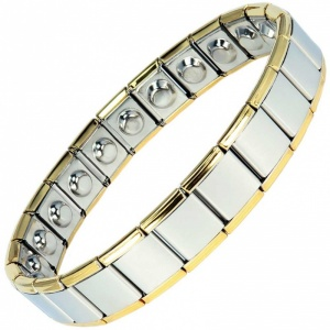 MPS® EXPANDING Wide Expanding Magnetic Bracelet with golden rims for Men