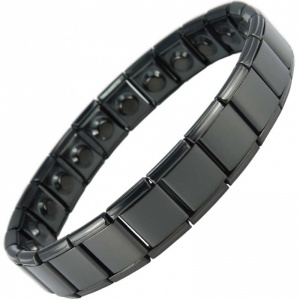 MPS® PYTHON Wide Expanding Magnetic Bracelet Black for men