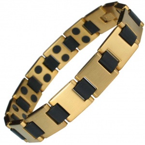 MPS® HORIZON Premium Men's Gold Finish Stainless Steel Magnetic Bracelet
