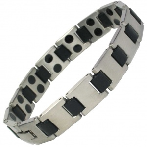 MPS® HORIZON Premium Men's Grey Finish Stainless Steel Magnetic Bracelet