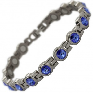 MPS® NORDIA Titanium Magnetic Bracelet for Women with SWAROVSKI® Deep Blue Crystals