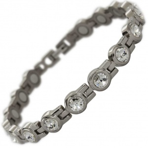 MPS® NORTHIA Titanium Magnetic Bracelet for Women with SWAROVSKI® Clear Crystals