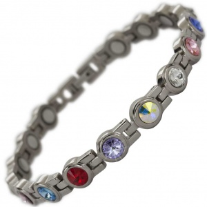 MPS® NORTHIA Titanium Magnetic Bracelet for Women with SWAROVSKI® Assorted Crystals