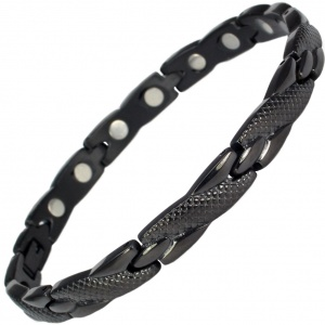 MPS® ADANA Black Ladies Stainless Steel Magnetic Therapy Bracelet