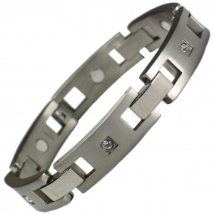 IonTopia™ CRYSTALS WIDE Ladies Titanium Magnetic Bracelet