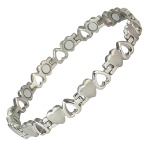 MPS® VENUS HEARTS Titanium Magnetic Bracelet for Women Silver Effect