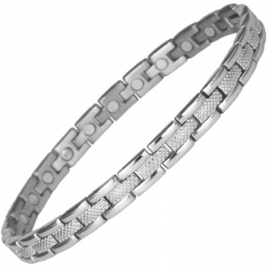 MPS® TEMUR SLIM SILVER Titanium Magnetic Bracelet Grey Finish
