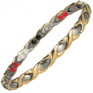 MPS® ALIOTH GOLD SILVER Titanium 4 Elements  Magnetic Bracelet