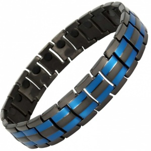 MPS® HOMER BLACK and BLUE STRIPES Magnetic Bracelet for Men Arthritis Pain Relief Health Titanium Magnet Therapy Wristband, with free resizing tool