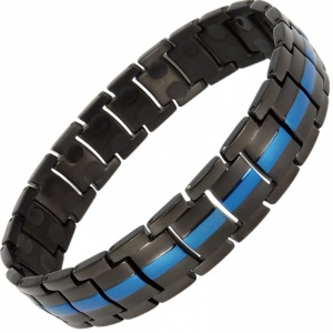MPS® EUROPE Classic BLACK with BLUE LINE Titanium Magnetic Therapy Bracelet for men