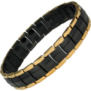 MPS® EUROPE GOLD-BLACK Titanium Magnetic Therapy Bracelet