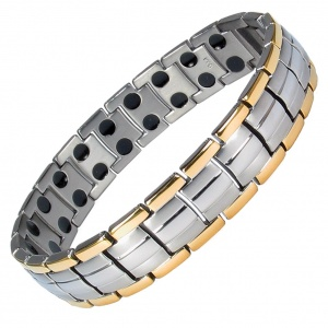 MPS EUROPE GOLD-SILVER Finish Titanium Magnetic Therapy Bracelet