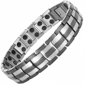 MPS HOMER SILVER 3 BLACK Titanium Magnetic Therapy Bracelet