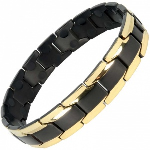 MPS® CastleRock Titanium Magnetic Therapy Bracelet for Men BLACK-GOLD