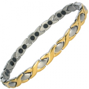 MPS® ATHEN GOLD-SILVER Finish Double Strength Titanium Magnetic Bracelet for Women