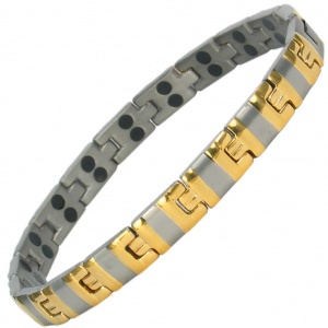 MPS® ALVIN GOLD SILVER Double Strength Titanium Magnetic Bracelet for Women