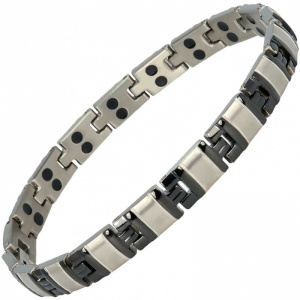 MPS® ALVIN SILVER and BLACK Double Strength Titanium Magnetic Bracelet for Women