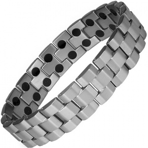 MPS® ANDAR Gunmetal Titanium Magnetic Therapy Bracelet for Men