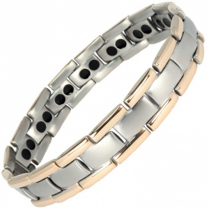 MPS® POLARIS Rose-Gold Edge Double Strength Titanium Magnetic Bracelet