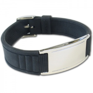 IonTopia® HI-PRIME Limited Editions Magnetic Bracelet with Black Silicone Strap and Grey Tag