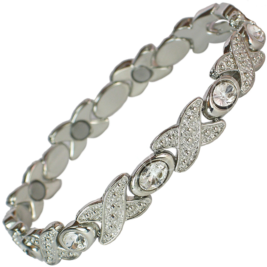 MPS FELICIAN Beautiful Hematite Crystal Magnetic Bracelet for Women - Stretching Band EDlLj