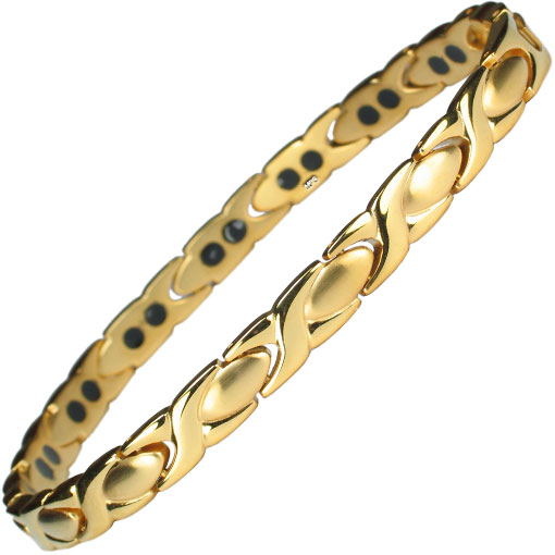 MPS ALIOTH S Classic Titanium Magnetic Bracelet Fold-Over Clasp, 3,000 gauss Magnets + Free Gift Wallet