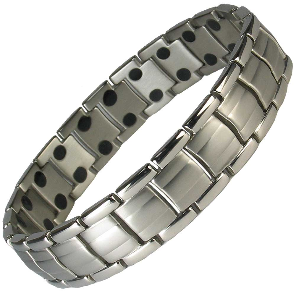 MPS EUROPE Gunmetal Titanium Magnetic Bracelet, Fold-Over Clasp, 3000 gauss Magnets + FREE Links Removal Tool