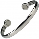 MPS® HERO Mega-Strength Polished Silver Tone Magnetic Bracelet Cuff Style