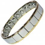 MPS® PYTHON Wide Expanding Magnetic Bracelet with golden rims for Men