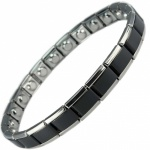 MPS® EXPANDING Narrow Expanding Magnetic Bracelet for Women Black and Silver