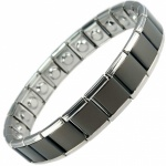 MPS® PYTHON Wide Expanding Magnetic Bracelet for Women Black and Silver