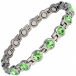 MPS® NORDIA Titanium Magnetic Bracelet for Women with SWAROVSKI® Green Crystals