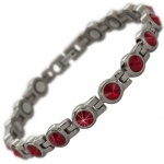 SALE - SALE - SALE - MPS® NORTHIA Titanium Magnetic Bracelet for Women with SWAROVSKI® Red Crystals