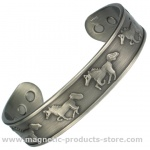 MPS RUNNING HORSES Pewter Magnetic Therapy Bangle