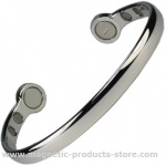 MPS Mega-Strength Polished Silver Tone Magnetic Bracelet Cuff Style