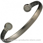 MPS Mega-Strength Matt Silver Tone Magnetic Bracelet Cuff Style