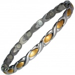 MPS® ALIOTH GOLD INSETS Stainless Steel Magnetic Therapy Bracelet for Women