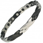 MPS® SEYAN Black Silver Ladies Stainless Steel Magnetic Therapy Bracelet