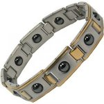 IonTopia� TOURAINE Gents Acupressure Stainless Steel Magnetic Bracelet