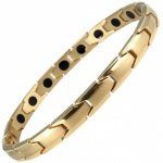 MPS® Ladies Magnetic Bracelet Arthritis Pain Relief Titanium Magnets Therapy Wristband, CastleRock Narrow Gold