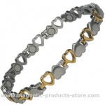 MPS® VENUS' HEARTS Titanium Magnetic Bracelet for Women Gold Effect